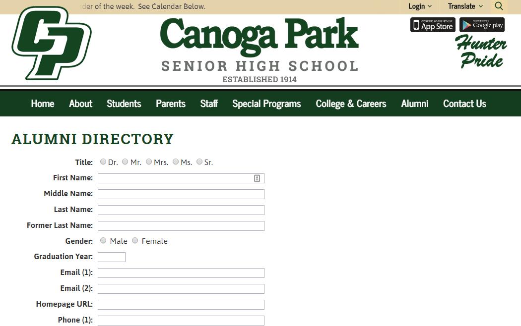 Calling all Alumni of Canoga Park High School