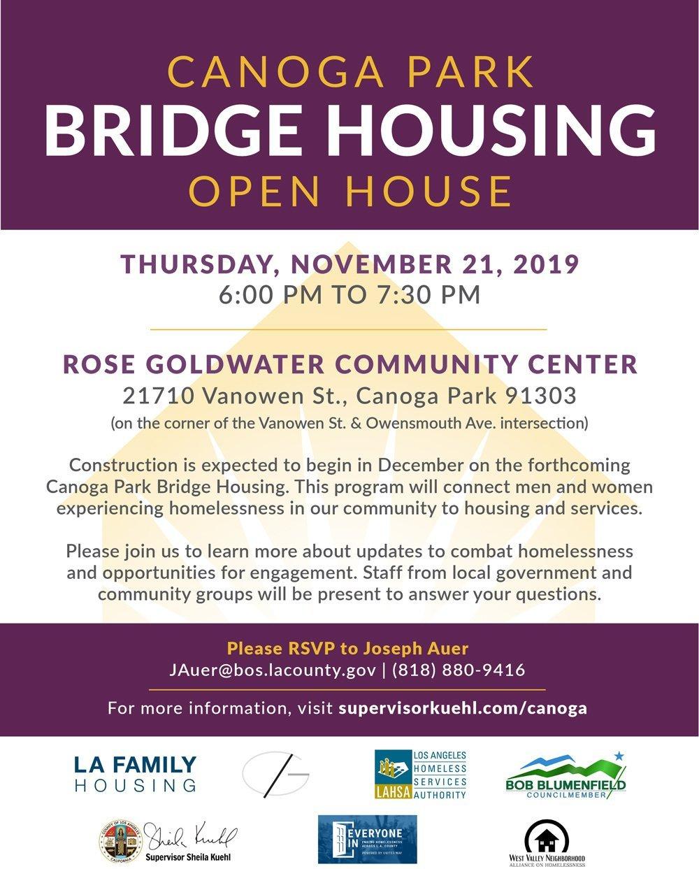 Canoga Park Bridge Housing Open House – Thursday, November 21