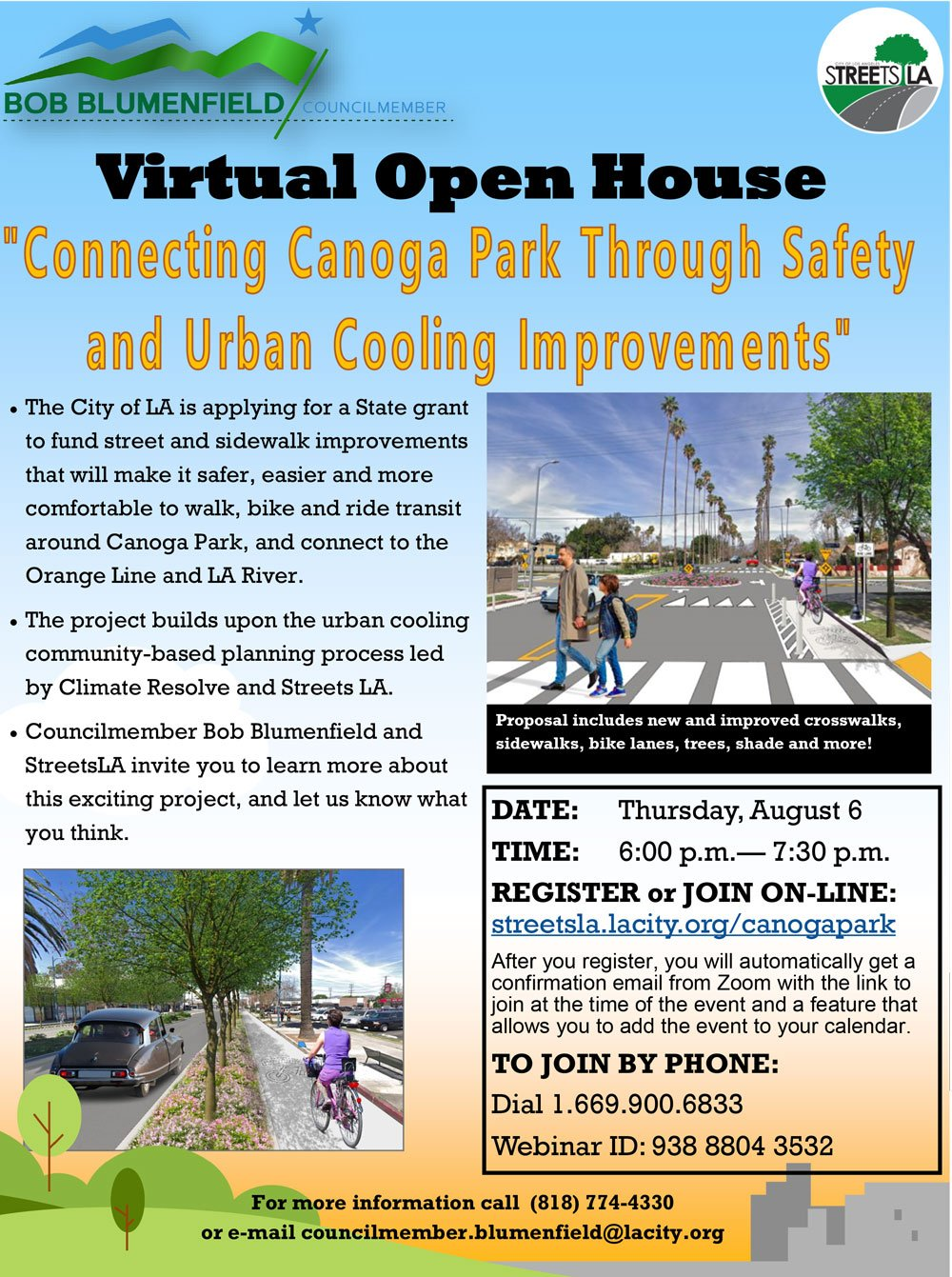 "Virtual Open House – Thursday, August 6 – ""Connecting Canoga Park Through Safety and Urban Cooling Improvements"""
