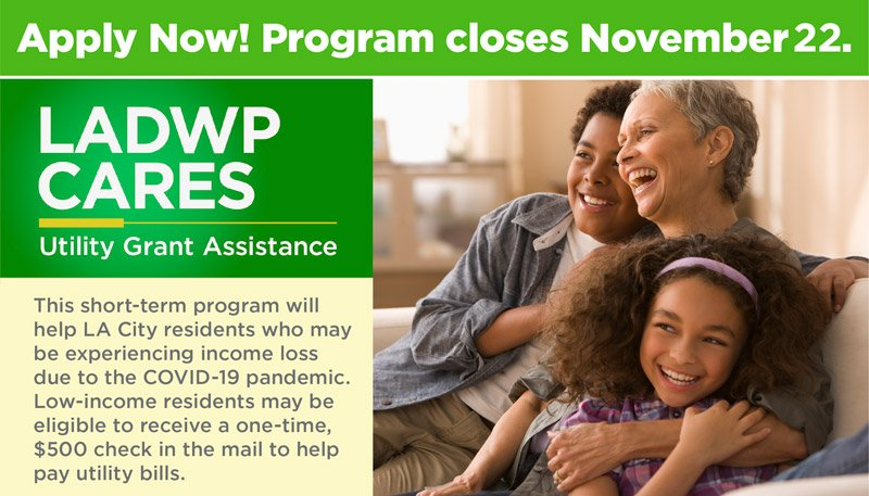Registration for $50 Million DWP Utility Relief Program to Assist Low-Income Families Extended to November 22